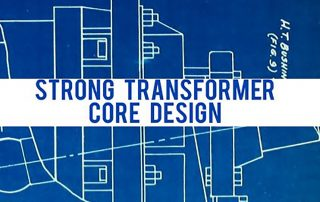 Abstract blueprint background with white banner across and the words 'Strong Transformer Core Design' in blue