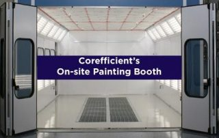 Painting booth with doors open and the words 'Corefficient's On-site Painting Booth' in the center.