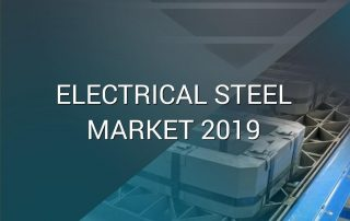 "A picture of an electrical transformer core being manufactured with the text ""Electrical Steel Market 2019"""
