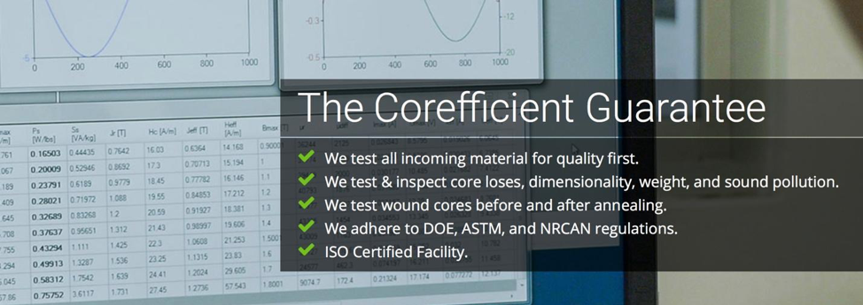 Computer screen showing testing software overlaid with Corefficient's transformer core testing guarantee