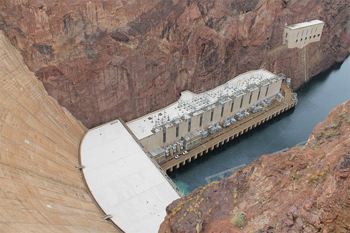 Aerial view of a hydroelectric power plant at the Hoover Dam, one of the most famous dams in the world.