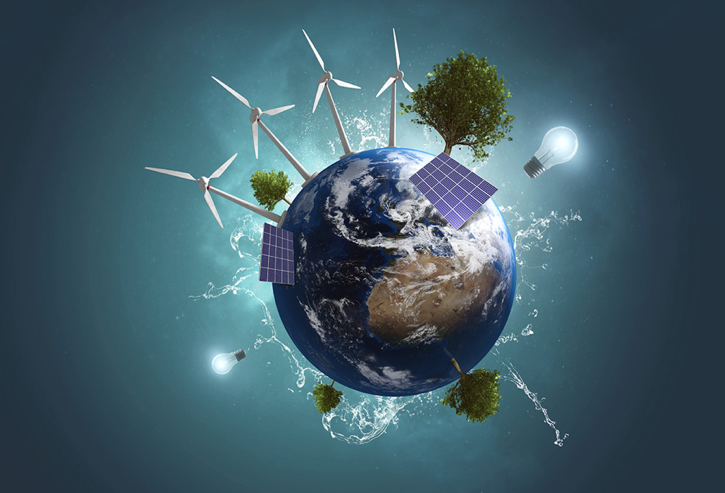 Planet Earth with different representations of energy: trees, lightbulbs, solar panels, wind turbines, and splashing water, extra large on the surface of the planet.