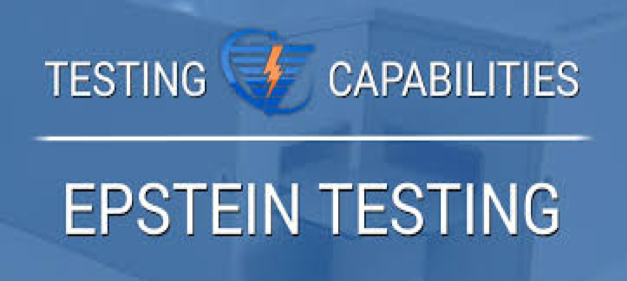 ": A blue sign that says, ""Testing capabilities Epstein testing,"" in capitalized, white letters, a lightning logo is in between the words ""testing"" and ""capabilities,"" and a white line runs horizontally in between ""testing capabilities,"" and ""Epstein testing."""