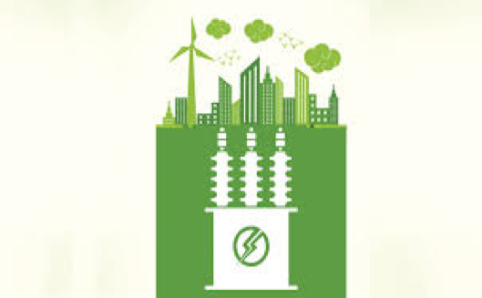 A green illustrated, design: on the bottom is a white transformer core with a green lightning bolt in the middle, on the top is a green city skyline, a green wind turbine, and green clouds.
