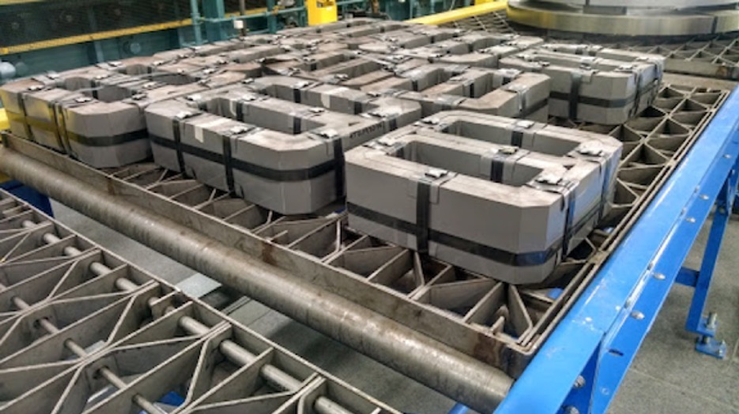 Several transformer cores on Corefficient's manufacturing line.