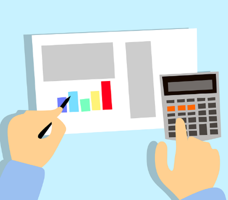 A cartoon rendering showing two hands in a long-sleeve, blue shirt working on a calculator and drawing a colorful bar graph on a piece of paper.