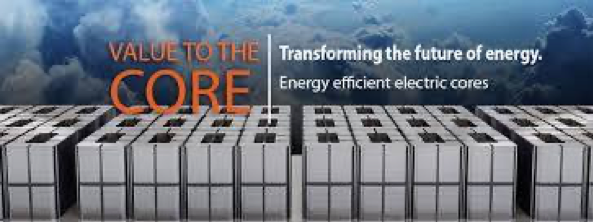 "An image with the words ""value to the core"" in orange, block letters, and a motto about transforming the future of energy, all in front of the backdrop of a cloudy sky and above rows of transformer gap cores."