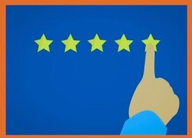 A cartoon on a blue background showing 5 gold stars in a row, and a finger pointing to the fifth star indicating a top rating of value and excellence.